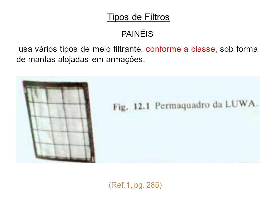 Tipos de Filtros PAINÉIS usa vários tipos de meio filtrante, conforme a classe, sob forma de mantas alojadas em armações. (Ref.1, pg. 285)