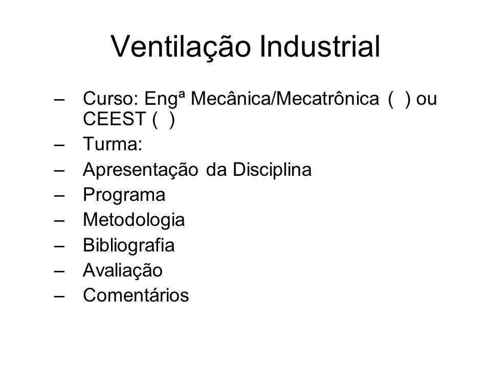 Ventilação Industrial Siglas(1) -VI-Ventilação Industrial -VG-Ventilação Geral -VN-Ventilação Natural -VGD-Ventilação Geral Diluidora -VLE-Ventilação Local Exautora -TV=Taxa de Ventilação -NT=Número de Trocas -Q=Vazão ou fluxo[m³/s] ou CFM[cubics feet per minutes] -V=Velocidade[m/s] ou FPM[feet per minutes] -TVR=Taxa de Ventilação Requerida -TVv=Taxa de Ventilação (por efeito vento) ou (dinâmica) -TVt=Taxa de Ventilação(por efeito temperatura) ou ( térmica ) ou (efeito lareira ) ou ( efeito chaminé) ou( convectiva) -TVc=Taxa de Ventilação Combinada( Interação entre TVv e TVt) -VDC=Ventilation Design Concentration