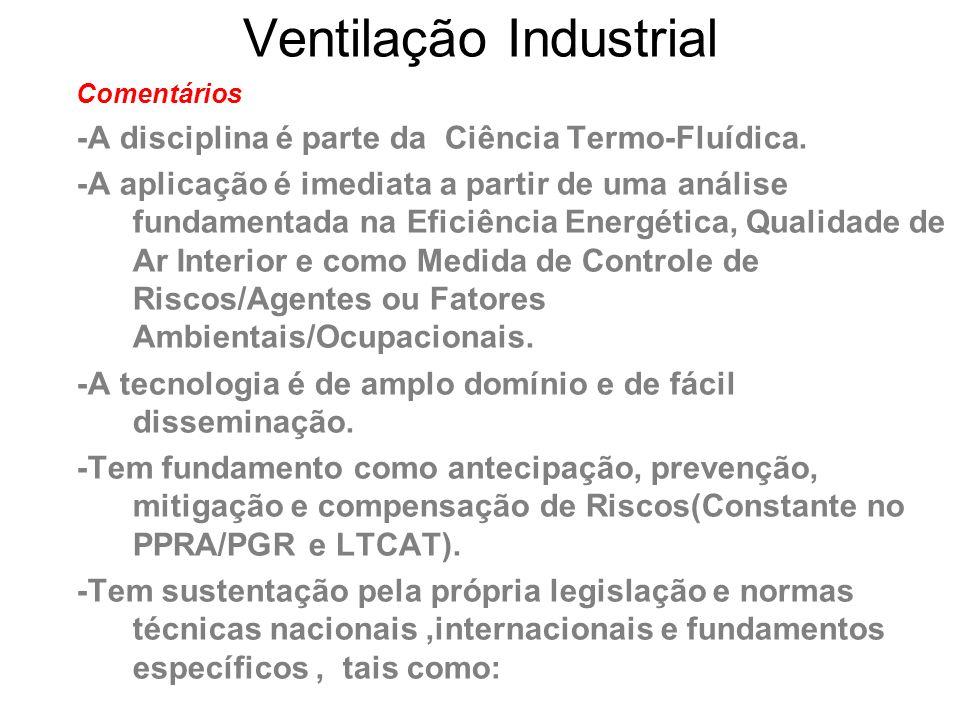Ventilação Industrial Comentários -A disciplina é parte da Ciência Termo-Fluídica. -A aplicação é imediata a partir de uma análise fundamentada na Efi