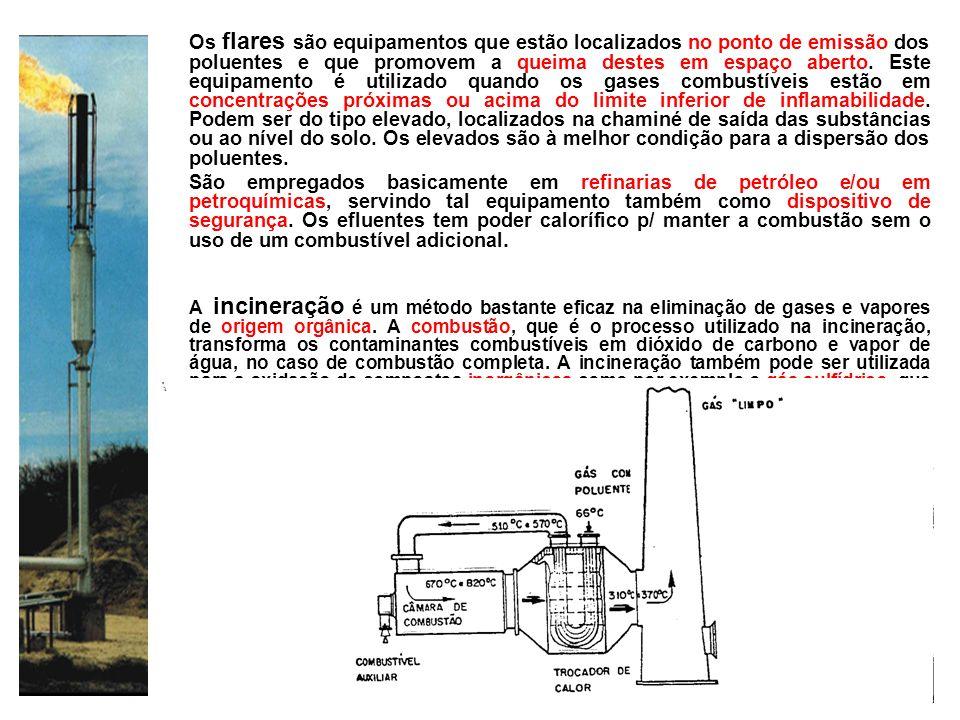 Os flares são equipamentos que estão localizados no ponto de emissão dos poluentes e que promovem a queima destes em espaço aberto. Este equipamento é