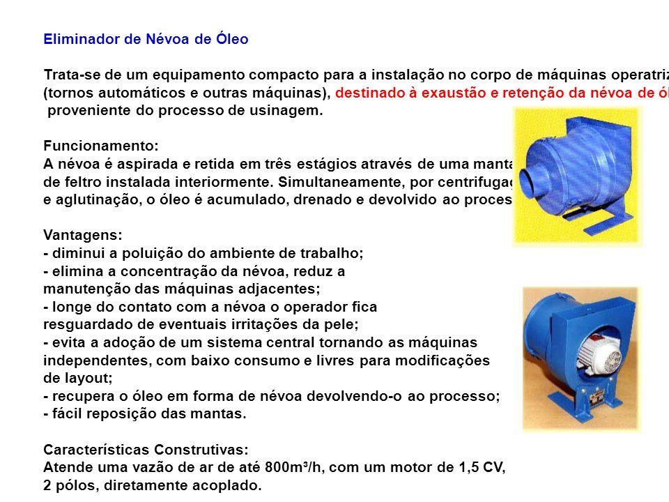 Eliminador de Névoa de Óleo Trata-se de um equipamento compacto para a instalação no corpo de máquinas operatrizes (tornos automáticos e outras máquin