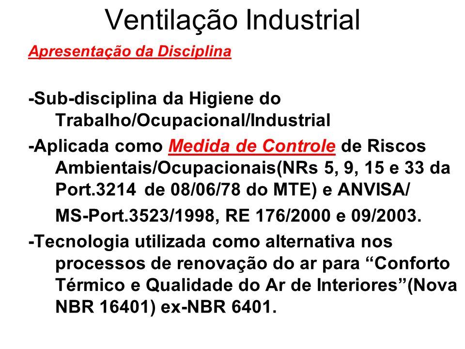 Ventilação Industrial Avaliação Relação/Sugestão das ANPs(Cont.): A4-Arquitetura Ecológica/Vent.Natural/Aberturas(até 18ªHA) A5-Considerações sobre a Port.3523,RE 176, 09 da ANVISA/MS,RE do CONAMA,CETESB e COPAM(até 21ªHA) A6-Tratamento de Ar em Submarinos Submersos, Minas Subterrâneas e Aeronaves(até 24ªHA) A7-Sistema de Secagem/Desumificação e Resfriamento Evaporativo(até 27ªHA) A8-Fisiologia da Termorregulação(até 30ªHA) A9-Sobrecarga Térmica,Metabolismo, IBUTG, TMR e TE-Temperatura Efetiva(até 33ªHA) A10-Espaço Confinado(até 36ªHA)