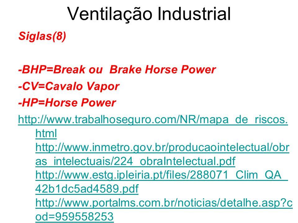Ventilação Industrial Siglas(8) -BHP=Break ou Brake Horse Power -CV=Cavalo Vapor -HP=Horse Power http://www.trabalhoseguro.com/NR/mapa_de_riscos. html
