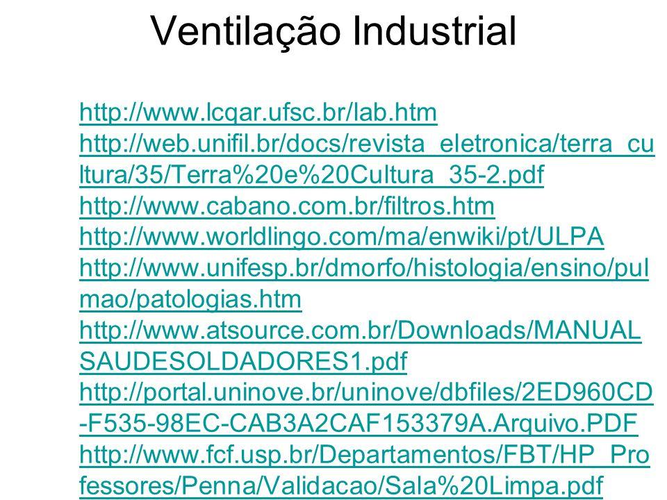 Ventilação Industrial http://www.lcqar.ufsc.br/lab.htm http://web.unifil.br/docs/revista_eletronica/terra_cu ltura/35/Terra%20e%20Cultura_35-2.pdf htt