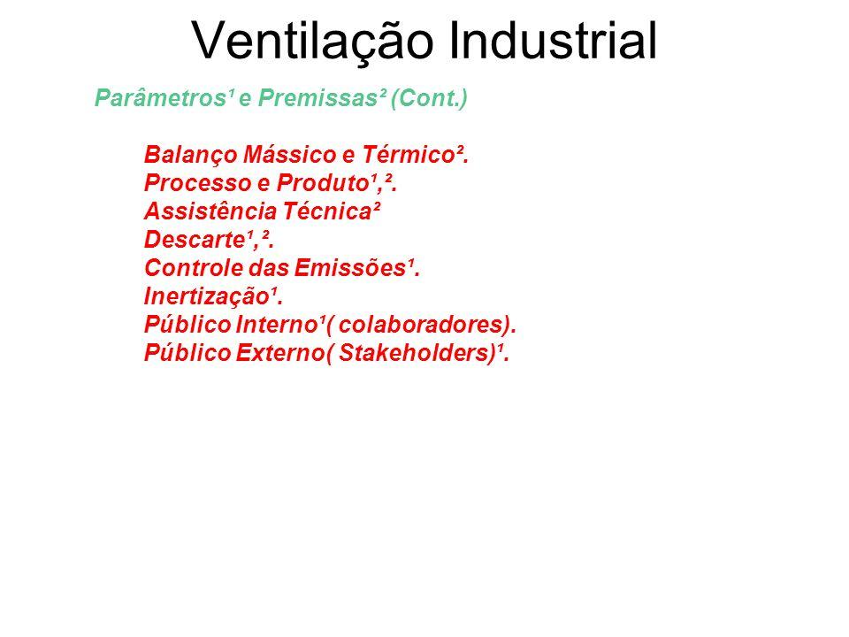 Ventilação Industrial Parâmetros¹ e Premissas² (Cont.) Balanço Mássico e Térmico². Processo e Produto¹,². Assistência Técnica² Descarte¹,². Controle d