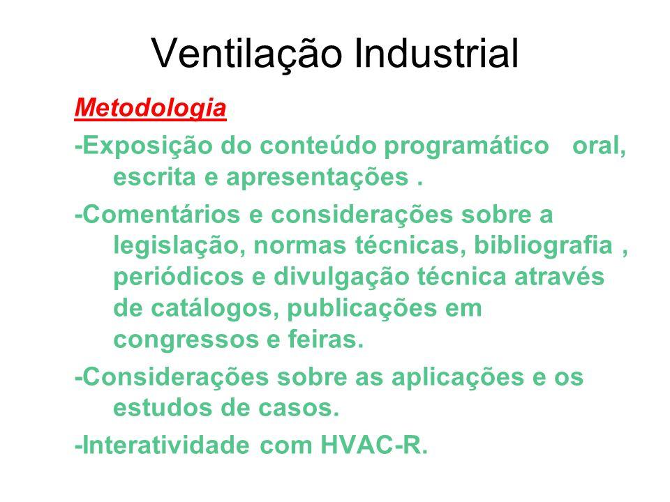 Ventilação Industrial Ementa Higiene Ocupacional-Riscos Ocupacionais-Qualidade do Ar Interior-Microbiologia-Poluição Atmosférica- Composição do Ar-Toxicologia-Fisiologia da Termorregulação-Normas e Legislação-Mecânica dos Fluídos e a Ventilação-Classificação da Ventilação-Sindrome dos Edificios Doentes-Fábrica Verde-Ecobuildings-Carta Bioclimática-Arquitetura Ecológica-Sistemas de Despoeiramento e Captação de Vapores e Gases-Equipamentos e Instalações-Espaço Confinado-Sistemas de Filtragem e Tratamento do Ar-Transporte Pneumático e Ventilação Invasiva e Não Invasiva.
