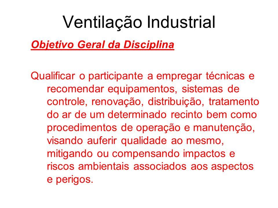 Ventilação Industrial Objetivo Geral da Disciplina Qualificar o participante a empregar técnicas e recomendar equipamentos, sistemas de controle, reno