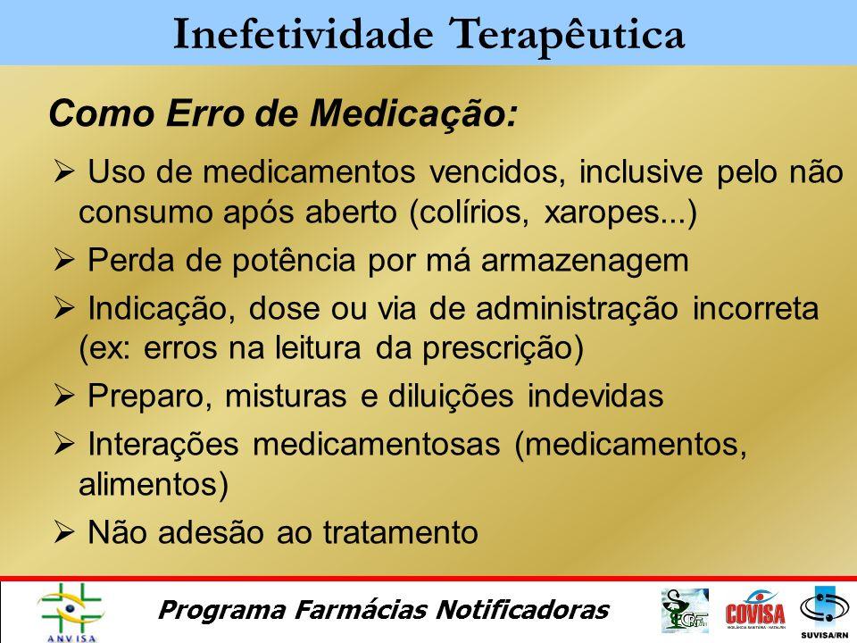 Programa Farmácias Notificadoras Concentração do fármaco abaixo do rotulado Dificuldades de dissolução para sólidos orais Medicamento genérico não bio