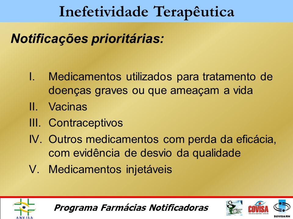 Programa Farmácias Notificadoras Outras possíveis causas: Inefetividade Terapêutica Variabilidade Genética Alterações Farmacocinéticas Interação Medic