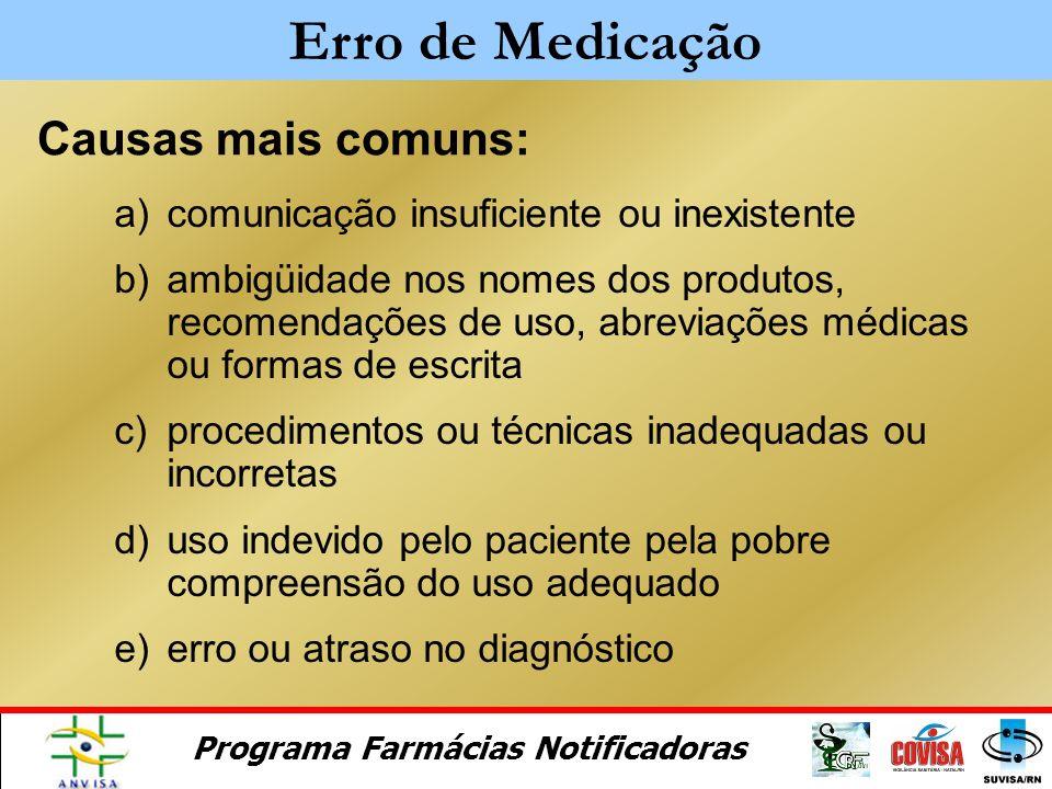 Programa Farmácias Notificadoras Qualquer evento evitável que pode causar dano ao paciente ou levar ao uso inadequado do medicamento. Erro de Medicaçã