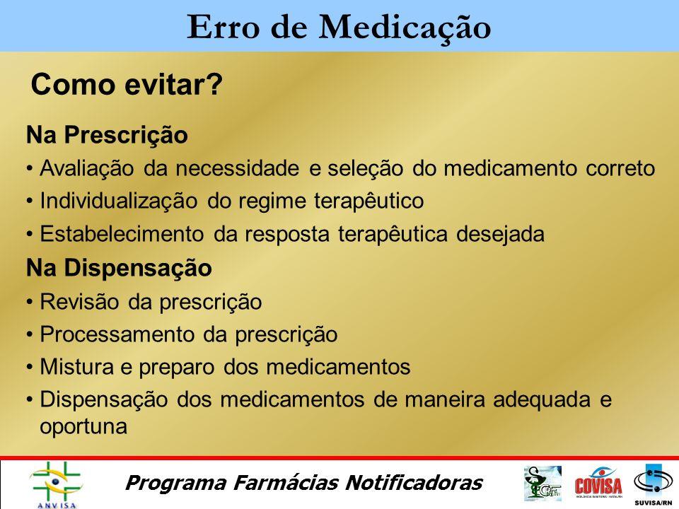 Programa Farmácias Notificadoras a)comunicação insuficiente ou inexistente b)ambigüidade nos nomes dos produtos, recomendações de uso, abreviações méd
