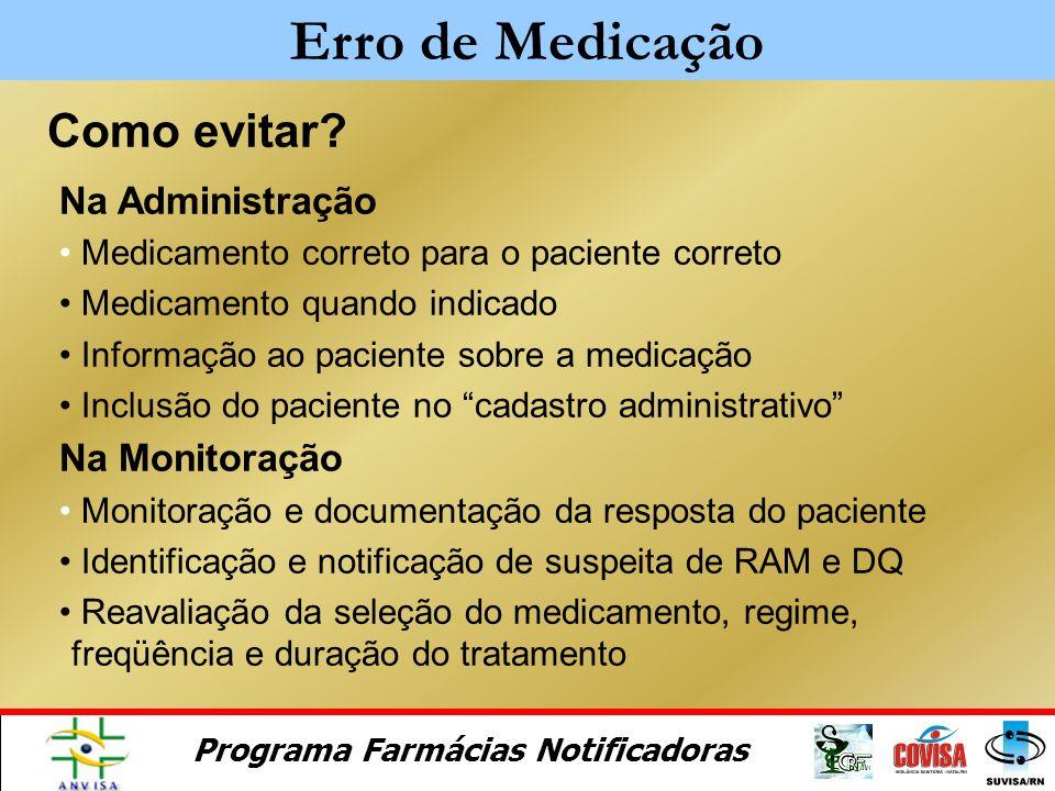 Programa Farmácias Notificadoras Como evitar? Na Prescrição Avaliação da necessidade e seleção do medicamento correto Individualização do regime terap