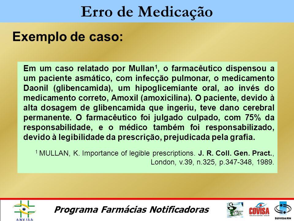 Programa Farmácias Notificadoras Como evitar? No Gerenciamento do controle Colaboração e comunicação entre os responsáveis pelos cuidados de saúde Rev