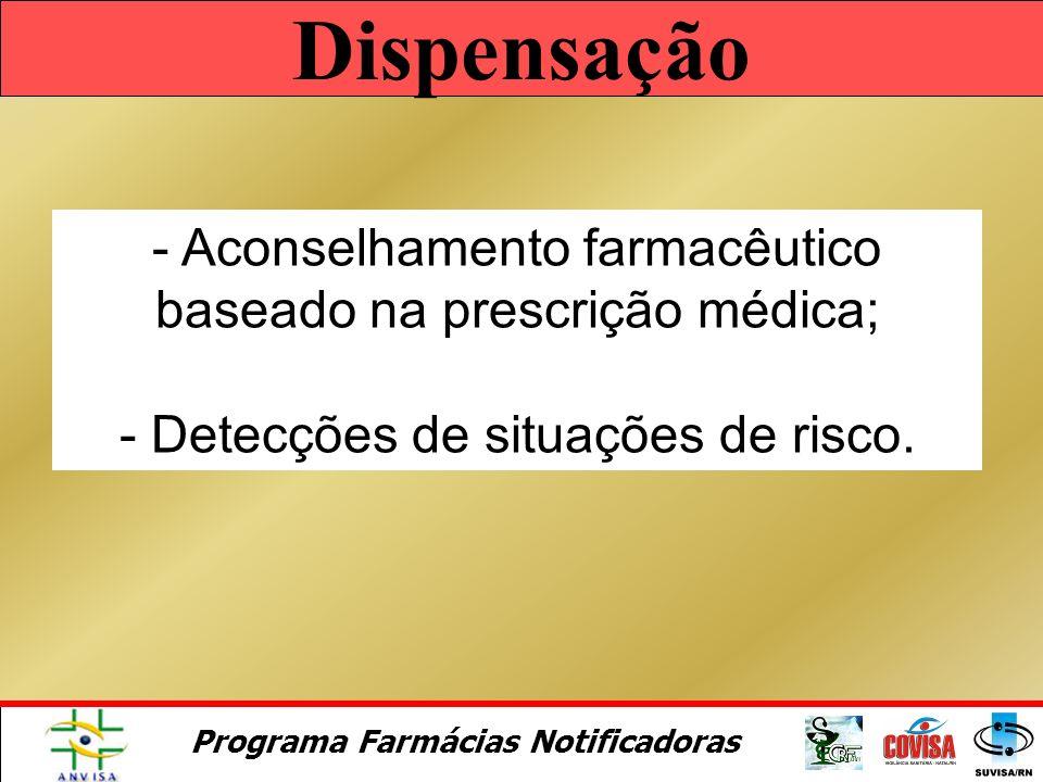 Programa Farmácias Notificadoras Atendimento Farmacêutico - Escuta ativa, - Identificação das necessidades, - Análise da situação, - Tomada de decisõe