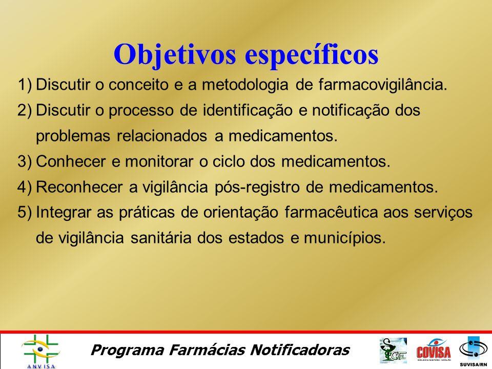 Programa Farmácias Notificadoras A capacitação tem o objetivo de incluir o farmacêutico como agente de saúde no Sistema de Vigilância Sanitária como n