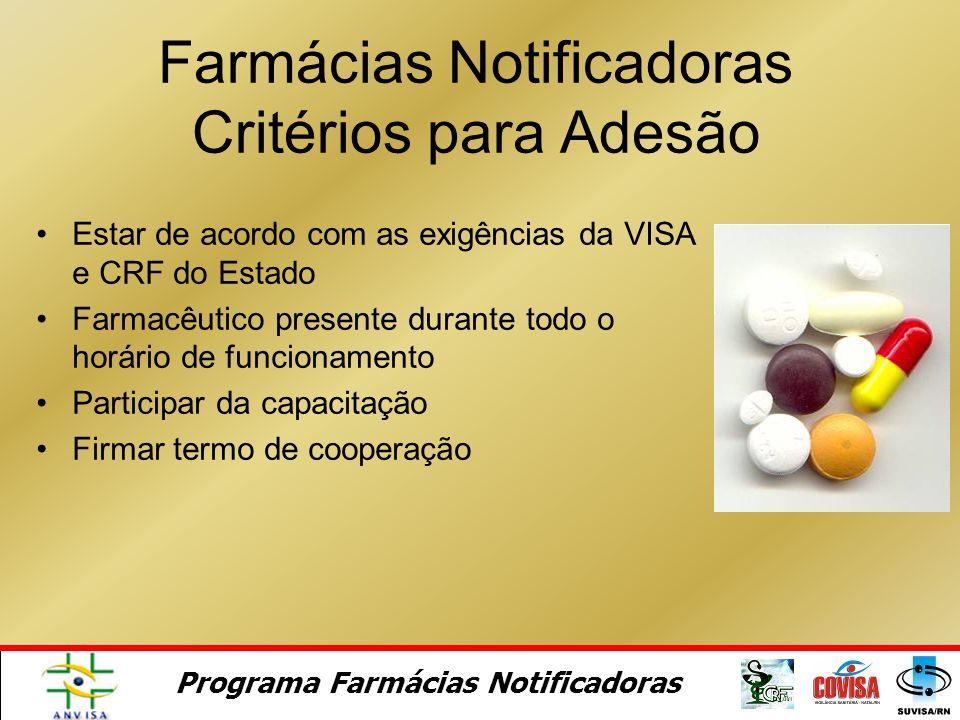 Termo de cooperação Termo de Adesão ANVISA VISA / CRF Farmacêuticos/Farmácia Termo de Referência Documentação do Programa Farmácias Notificadoras