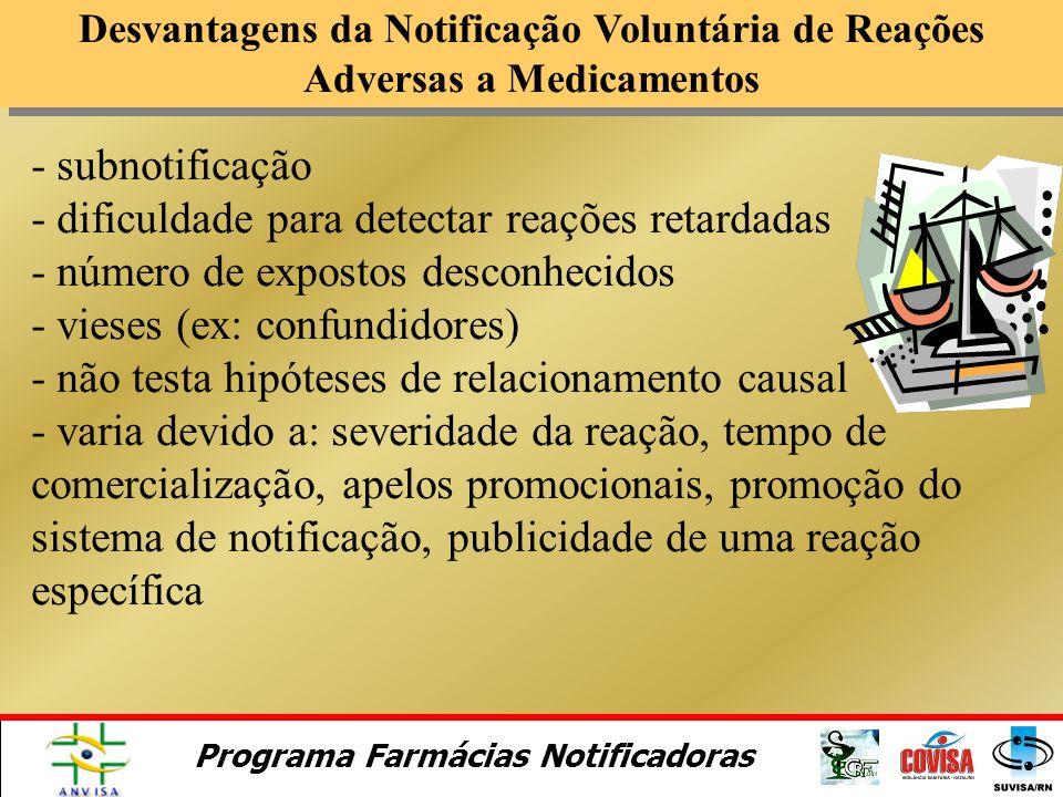 Programa Farmácias Notificadoras Vantagens da Notificação Voluntária de Reações Adversas a Medicamentos - cobertura de toda a população usuária de med