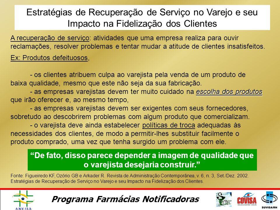 Programa Farmácias Notificadoras Gerenciamento de Reclamações (Satisfação) Confiança do consumidor Lealdade do consumidor O Impacto do Gerenciamento d