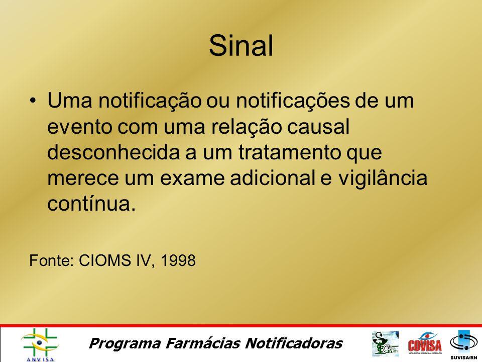 Programa Farmácias Notificadoras O que é SINAL?
