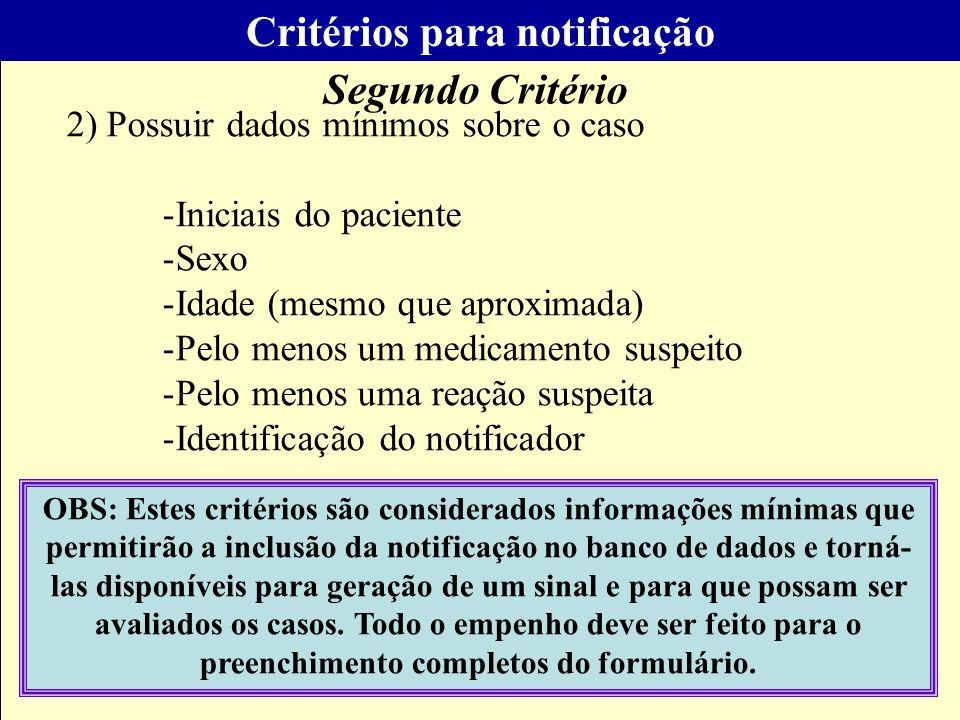 Programa Farmácias Notificadoras Critérios para notificação 1)Suspeita de ser o medicamento como a causa da reação (Relação temporal plausível, mecani