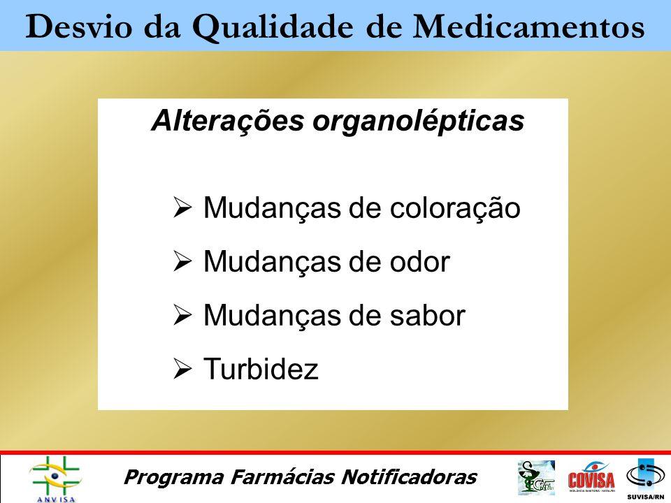 Programa Farmácias Notificadoras É o afastamento dos parâmetros de qualidade estabelecidos para um produto ou processo. (RDC 210/03) Desvio da Qualida
