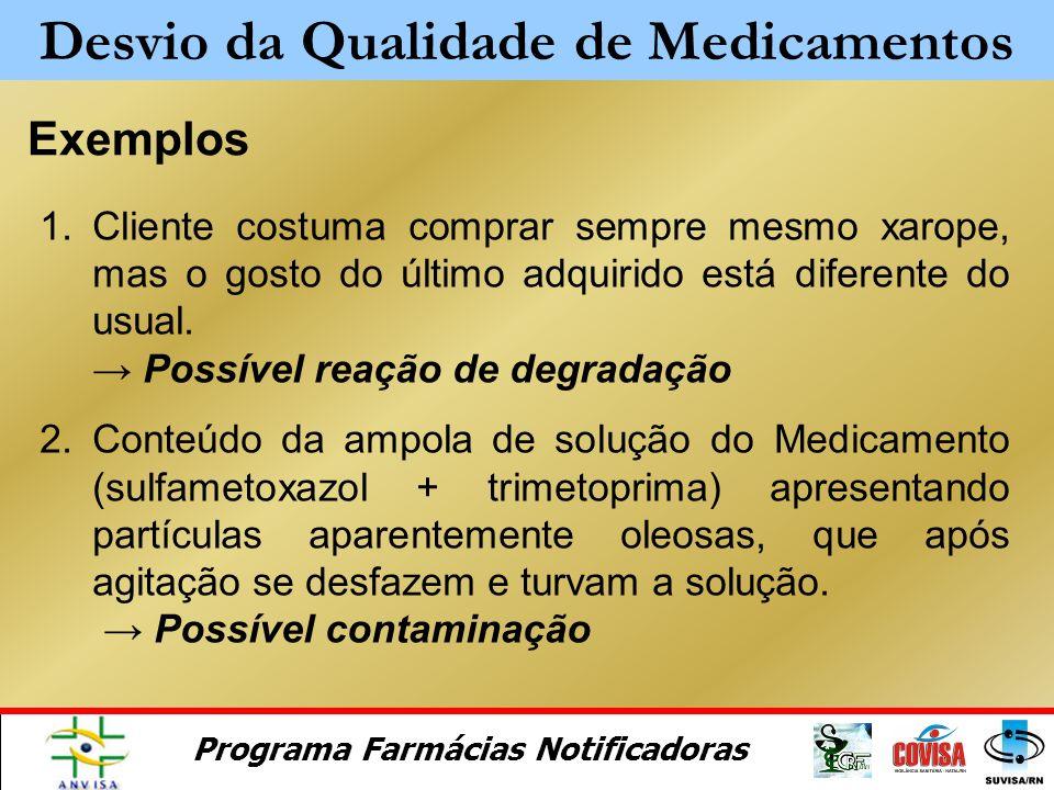Programa Farmácias Notificadoras Alterações organolépticas Mudanças de coloração Mudanças de odor Mudanças de sabor Turbidez Desvio da Qualidade de Me