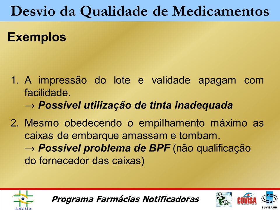 Programa Farmácias Notificadoras Alterações gerais Dificuldades de homogeneização (suspensões, emulsões) Dificuldades de solubilização (pó para suspen