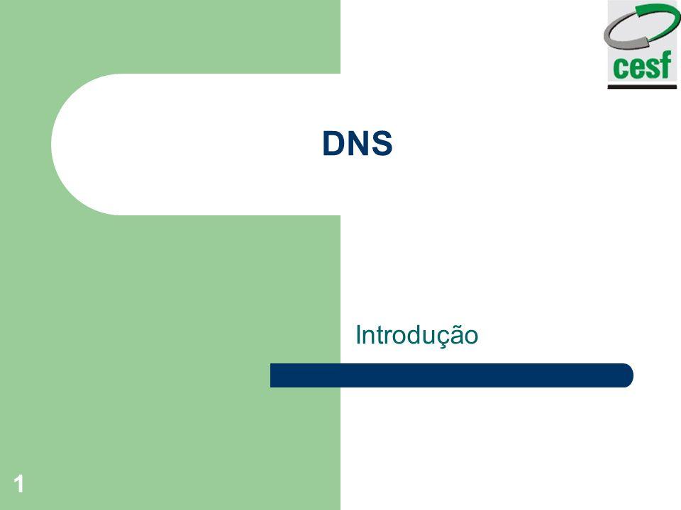 Professor: Arlindo Tadayuki Noji Instituto de Ensino Superior Fucapi - CESF 2 DNS - DOMAIN NAME SYSTEM Mecanismo que converte em string ASCII os endereços de rede.