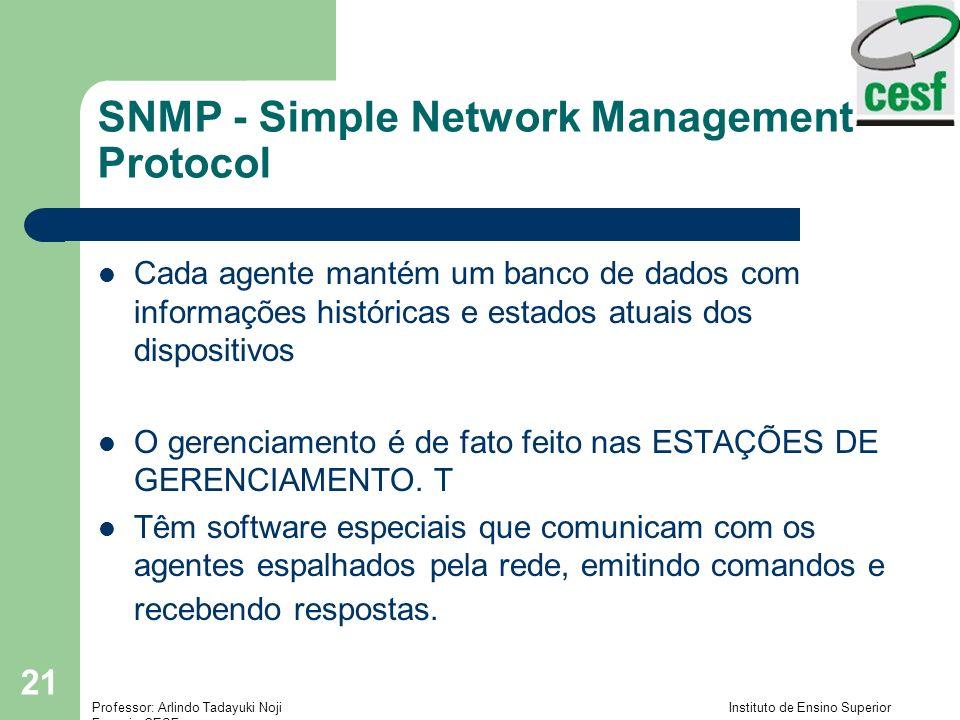 Professor: Arlindo Tadayuki Noji Instituto de Ensino Superior Fucapi - CESF 21 SNMP - Simple Network Management Protocol Cada agente mantém um banco d
