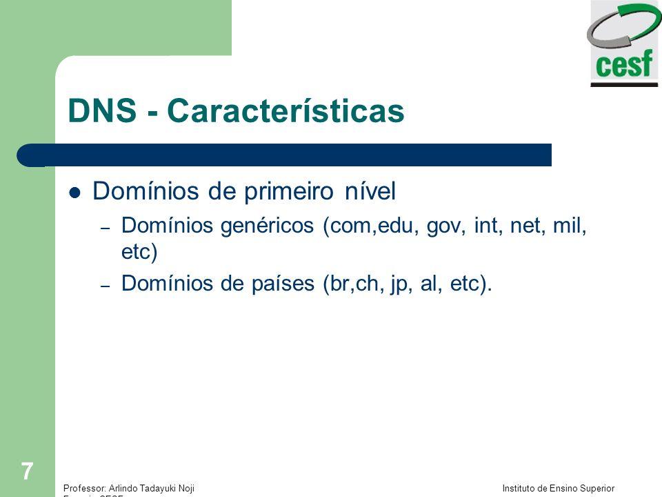 Professor: Arlindo Tadayuki Noji Instituto de Ensino Superior Fucapi - CESF 7 DNS - Características Domínios de primeiro nível – Domínios genéricos (c