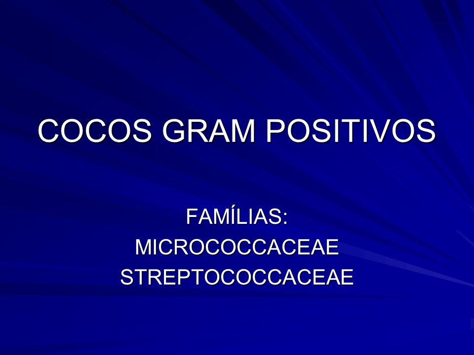 COCOS GRAM POSITIVOS FAMÍLIAS:MICROCOCCACEAESTREPTOCOCCACEAE