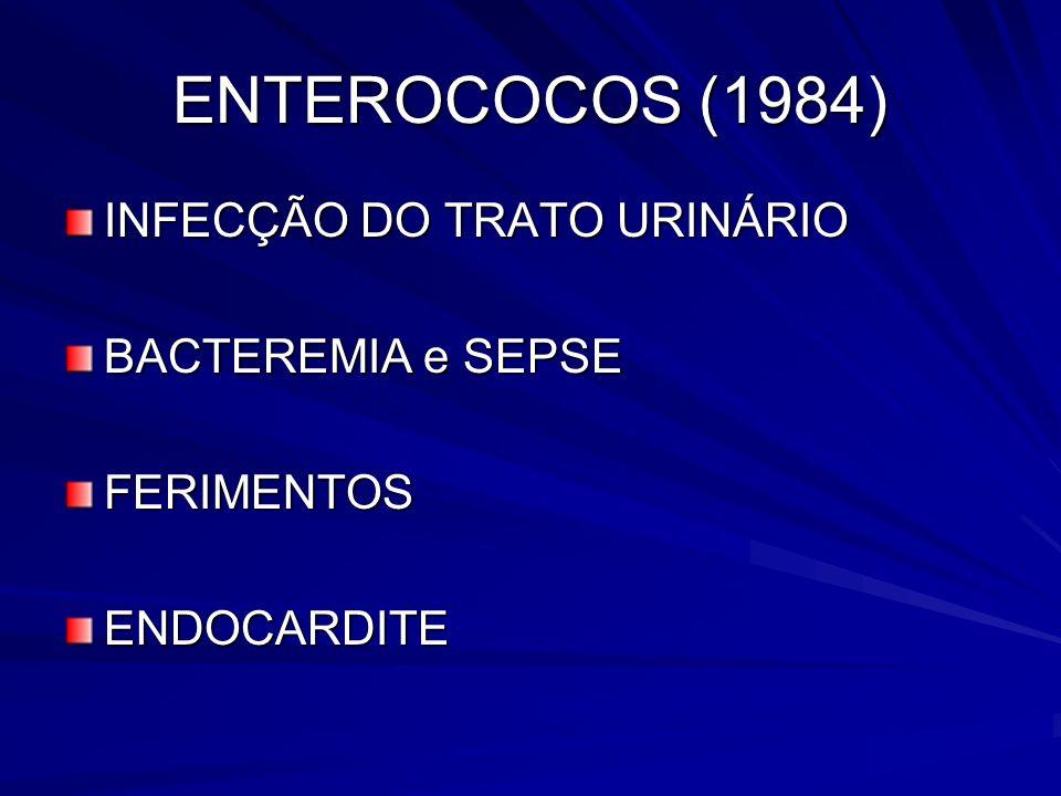 ENTEROCOCOS (1984) INFECÇÃO DO TRATO URINÁRIO BACTEREMIA e SEPSE FERIMENTOSENDOCARDITE
