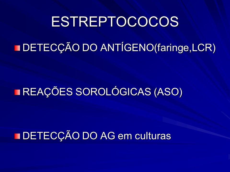 ESTREPTOCOCOS DETECÇÃO DO ANTÍGENO(faringe,LCR) REAÇÕES SOROLÓGICAS (ASO) DETECÇÃO DO AG em culturas