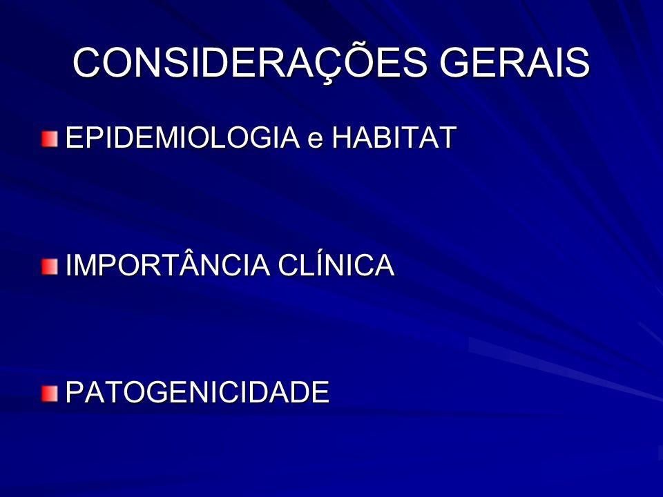 CONSIDERAÇÕES GERAIS EPIDEMIOLOGIA e HABITAT IMPORTÂNCIA CLÍNICA PATOGENICIDADE
