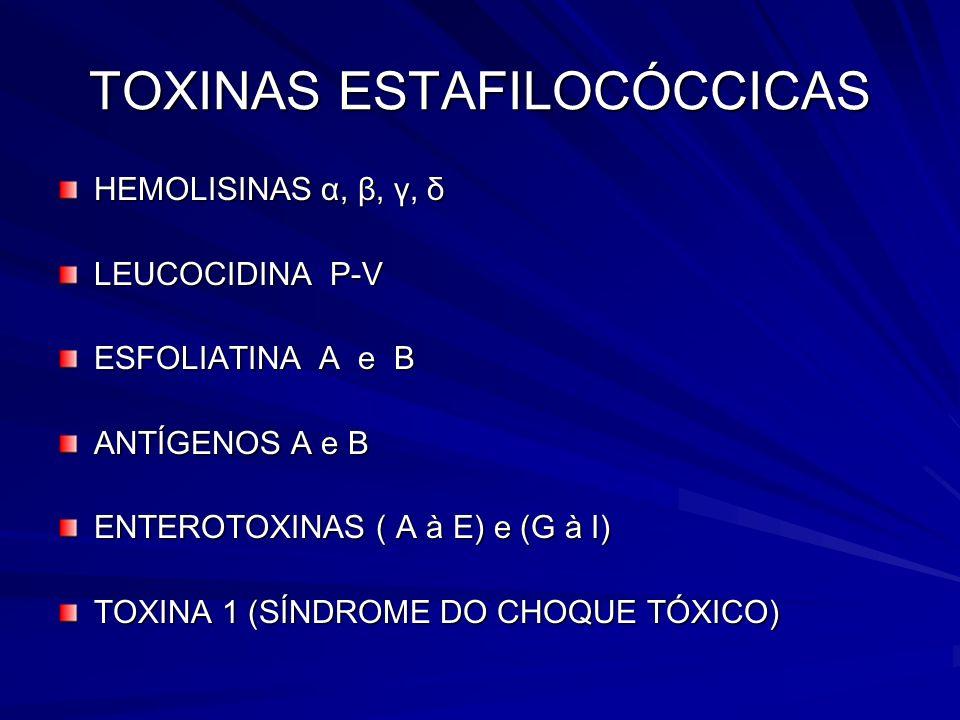 TOXINAS ESTAFILOCÓCCICAS HEMOLISINAS α, β, γ, δ LEUCOCIDINA P-V ESFOLIATINA A e B ANTÍGENOS A e B ENTEROTOXINAS ( A à E) e (G à I) TOXINA 1 (SÍNDROME