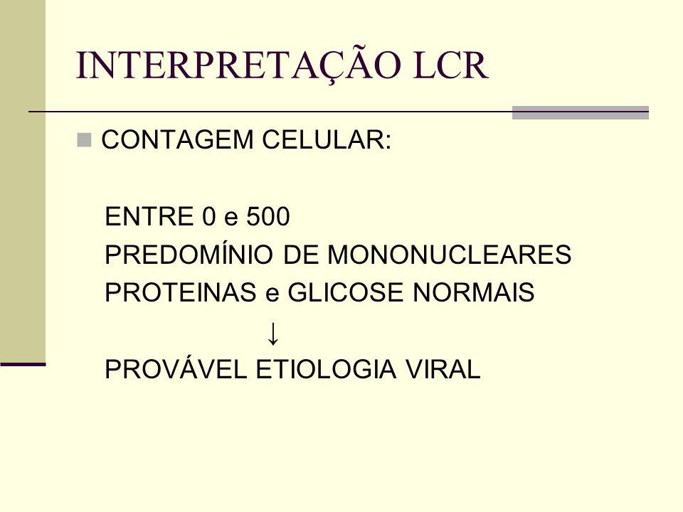 INTERPRETAÇÃO LCR CONTAGEM CELULAR: ATÉ 500 leucócitos com perfil misto PROTEÍNAS NORMAIS GLICOSE NORMAL ou DIMINUÍDA TUBERCULOSE ou FUNGOS