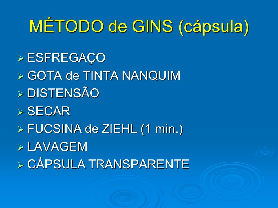 MÉTODO de GINS (cápsula) ESFREGAÇO ESFREGAÇO GOTA de TINTA NANQUIM GOTA de TINTA NANQUIM DISTENSÃO DISTENSÃO SECAR SECAR FUCSINA de ZIEHL (1 min.) FUCSINA de ZIEHL (1 min.) LAVAGEM LAVAGEM CÁPSULA TRANSPARENTE CÁPSULA TRANSPARENTE