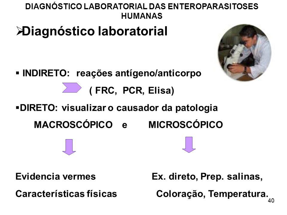 40 Diagnóstico laboratorial INDIRETO: reações antígeno/anticorpo ( FRC, PCR, Elisa) DIRETO: visualizar o causador da patologia MACROSCÓPICO e MICROSCÓ