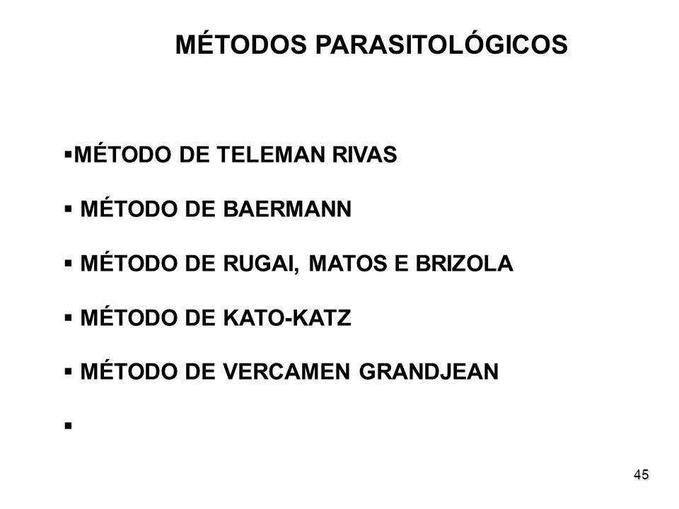 45 MÉTODOS PARASITOLÓGICOS MÉTODO DE TELEMAN RIVAS MÉTODO DE BAERMANN MÉTODO DE RUGAI, MATOS E BRIZOLA MÉTODO DE KATO-KATZ MÉTODO DE VERCAMEN GRANDJEA