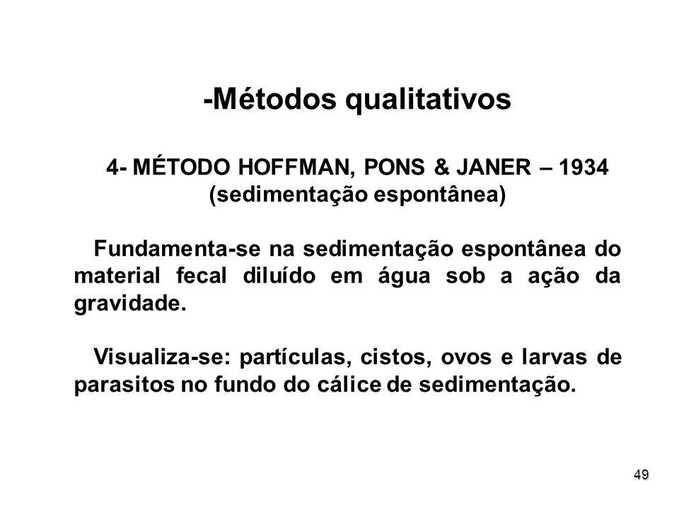 49 -Métodos qualitativos 4- MÉTODO HOFFMAN, PONS & JANER – 1934 (sedimentação espontânea) Fundamenta-se na sedimentação espontânea do material fecal d