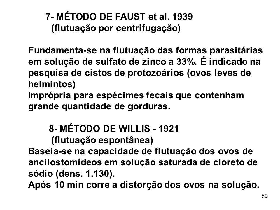 50 7- MÉTODO DE FAUST et al. 1939 (flutuação por centrifugação) Fundamenta-se na flutuação das formas parasitárias em solução de sulfato de zinco a 33