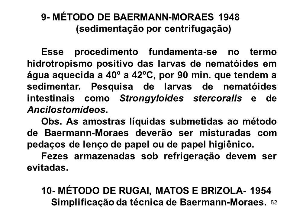 52 9- MÉTODO DE BAERMANN-MORAES 1948 (sedimentação por centrifugação) Esse procedimento fundamenta-se no termo hidrotropismo positivo das larvas de ne