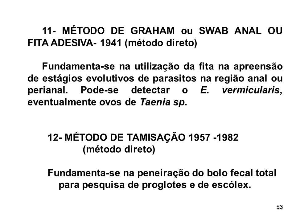 53 11- MÉTODO DE GRAHAM ou SWAB ANAL OU FITA ADESIVA- 1941 (método direto) Fundamenta-se na utilização da fita na apreensão de estágios evolutivos de