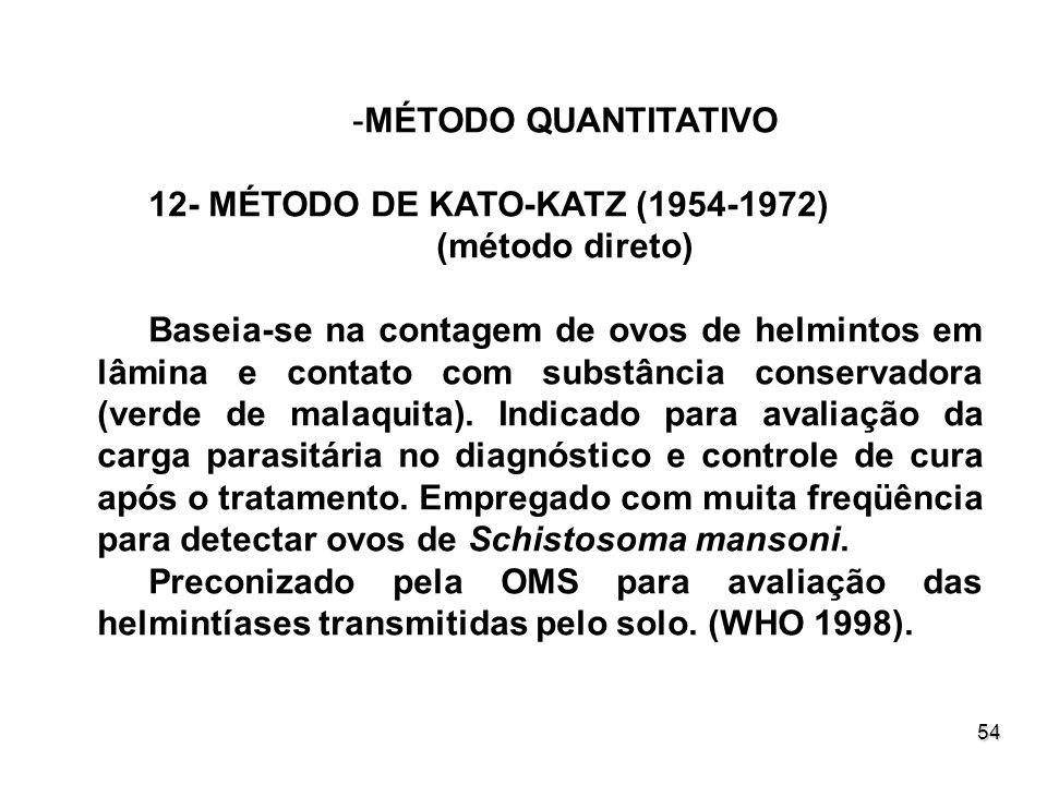 54 -MÉTODO QUANTITATIVO 12- MÉTODO DE KATO-KATZ (1954-1972) (método direto) Baseia-se na contagem de ovos de helmintos em lâmina e contato com substân