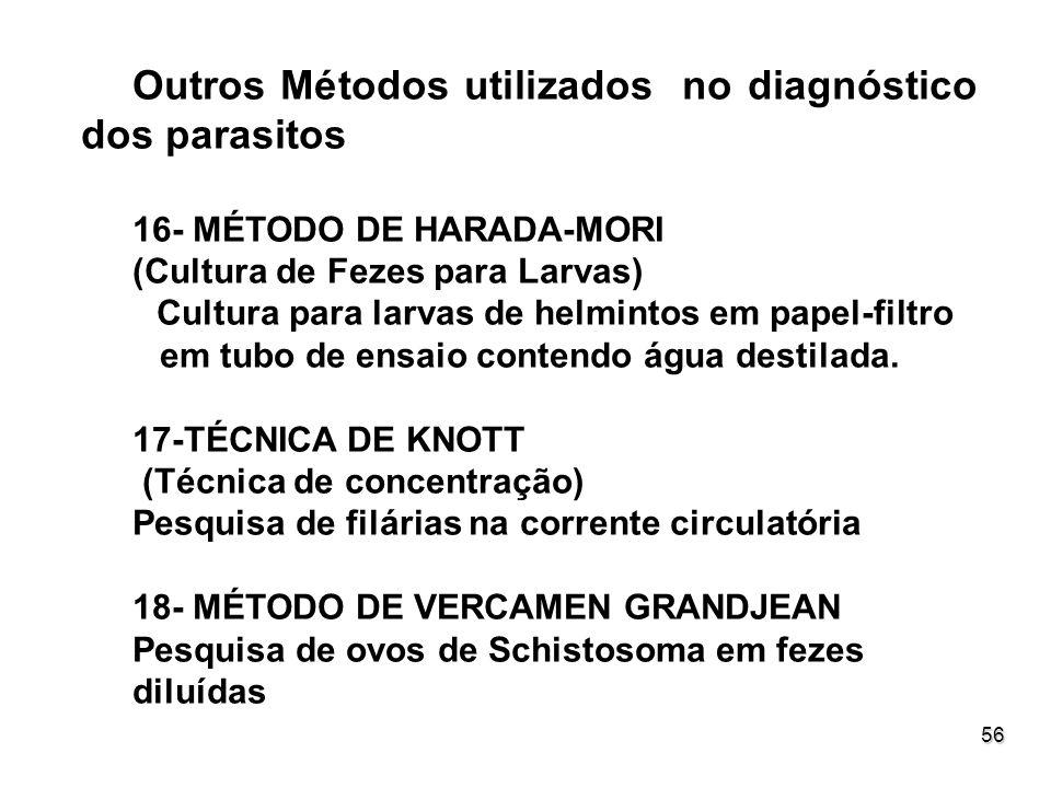 56 Outros Métodos utilizados no diagnóstico dos parasitos 16- MÉTODO DE HARADA-MORI (Cultura de Fezes para Larvas) Cultura para larvas de helmintos em