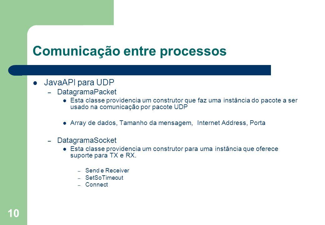10 Comunicação entre processos JavaAPI para UDP – DatagramaPacket Esta classe providencia um construtor que faz uma instância do pacote a ser usado na