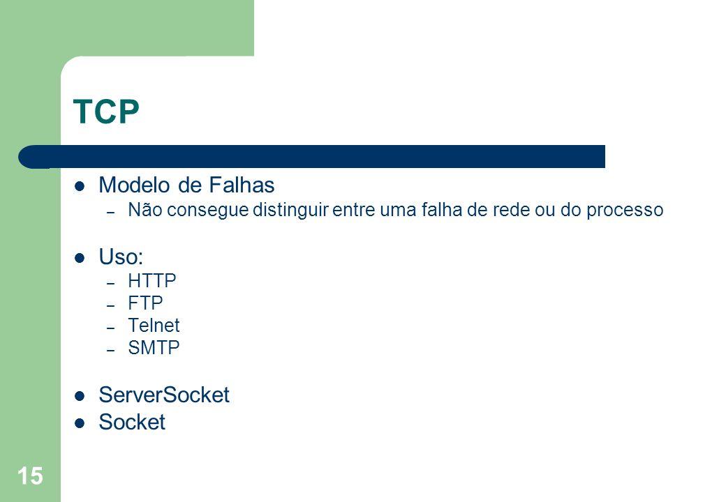 15 TCP Modelo de Falhas – Não consegue distinguir entre uma falha de rede ou do processo Uso: – HTTP – FTP – Telnet – SMTP ServerSocket Socket