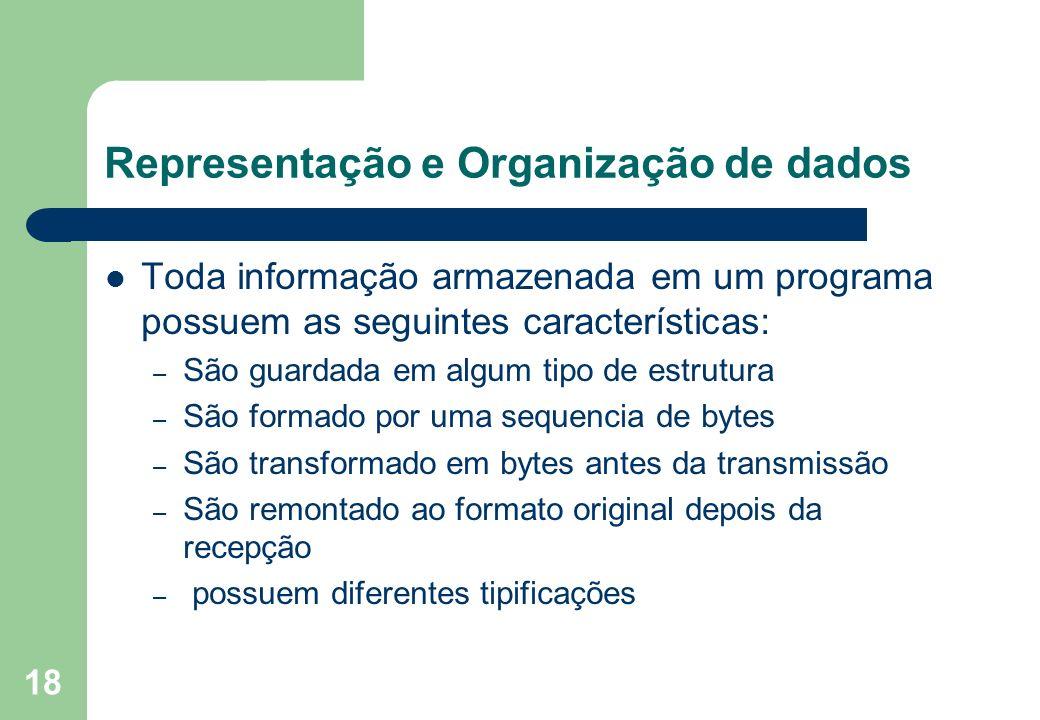 18 Representação e Organização de dados Toda informação armazenada em um programa possuem as seguintes características: – São guardada em algum tipo d