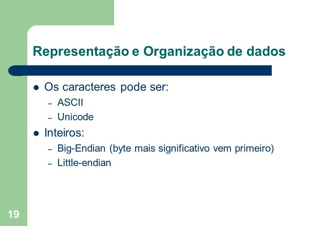 19 Representação e Organização de dados Os caracteres pode ser: – ASCII – Unicode Inteiros: – Big-Endian (byte mais significativo vem primeiro) – Litt