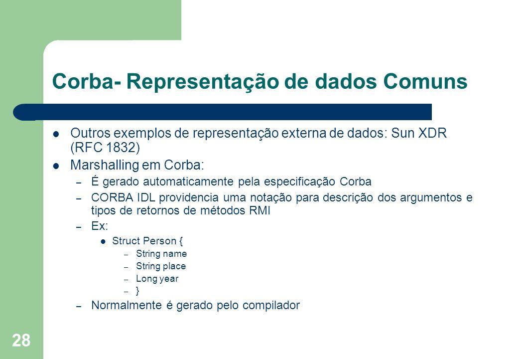 28 Corba- Representação de dados Comuns Outros exemplos de representação externa de dados: Sun XDR (RFC 1832) Marshalling em Corba: – É gerado automat